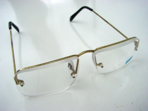 HALF FRAME READING GLASSES GOLD COLOURED METAL FRAME +3.0
