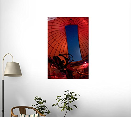 Inside An Observatory With Telescope Aimed At The Night Sky Wall Mural - 36 Inches H X 24 Inches W - Peel And Stick Removable Graphic