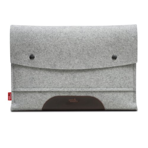 "MacBook PRO 13"" sleeve HAMPSHIRE Gray/Dark brown - 100 % Merino woolfelt and pure vegetable tanned leather - Made in Germany, Hamburg"