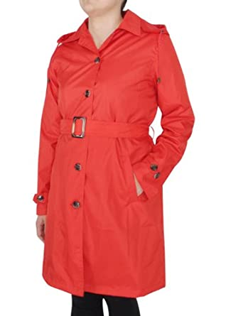 Capelli New York Ladies Solid Trench Rain Coat with Belt Riverside Red
