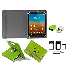 Gadget Decor (TM) PU Leather Rotating 360° Flip Case Cover With Stand For Tescom Bolt 3 + Free Robot USB On-The-Go OTG Reader + Free Sim Adapter Kit - Green