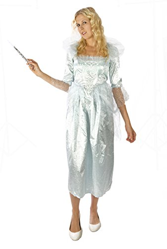 Disguise Women's Fairy Godmother Movie Adult Deluxe, White, Small with Lite-Up Wand
