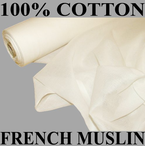 24m White French Cotton Muslin Voile Fabric Curtain