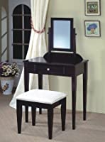 JRS Wood Vanity Set with Stool and Mirror Black Finish
