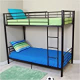 Twin Size Convertible Metal Bunk Bed in Black Finish