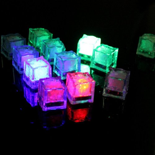 Bestgrew® 24 Pack Water Submersible Light Up Wedding Decorative Led Liquid Sensor Ice Cubes Light-Multicolor