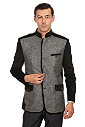 Wintage Mens Rayon Grandad Collar Festive Grey Bandhgala Blazer Coat