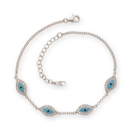 Evil Eye Anklet Bracelet .925 Sterling Silver (3.1g)