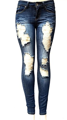 ETERNO Juniors WOMENS BLUE Denim JEANS Destroy Skinny Ripped Distressed Pants (Junior Jeans Size 1 compare prices)