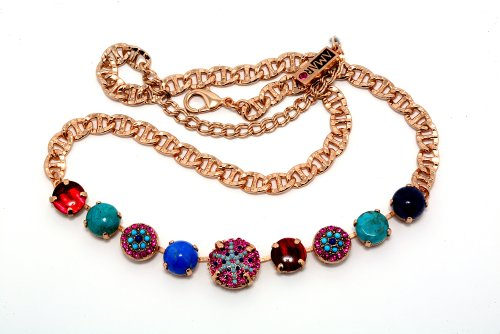 24K Rose Gold Plated Dashing Collar Necklace by Amaro Jewelry Studio 'Indigo' Collection Embellished with Chrysocolla, Lapis Lazuli, Abalone, Turquoise, Amethyst and Swarovski Crystals