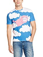 Mr. Gugu & Miss Go Camiseta Manga Corta Unisex Flying Pig (Azul / Blanco / Rosa)