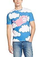 Mr. Gugu & Miss Go Camiseta Manga Corta Unisex Flying Pig (Azul / Blanco / Rosa)