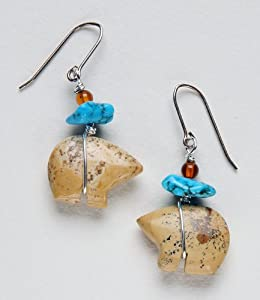 Earrings - Zuni Bear, Picture Jasper