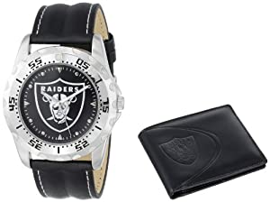 Game Time Unisex NFL-WWS-OAK Wallet and Oakland Raiders NHL Watch Set by Game Time