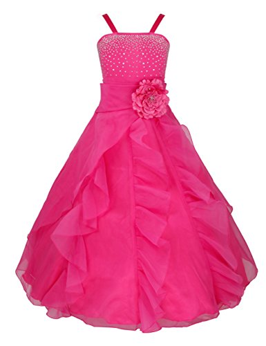FEESHOW Girls Organza Flower Princess Dress for Wedding Pageant Party Ball Gown Rose 10