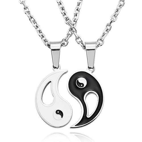 Men's 2PCS Stainless Steel Enamel Pendant Necklace Black White Yin Yang Valentine -with 20 and 23 inch Chain