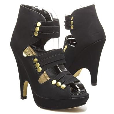 YOKI Womens KYLLA Open Peep Toe Strappy Gold Studded Wedge High Heel Platform Sandal Pump Hightop Ankle Bootie Shoes, Black PU Leather, 5.5 B (M) US
