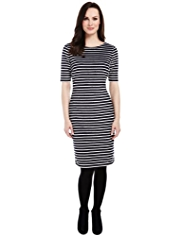 M&S Collection Scallop Striped Shift Dress
