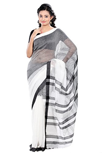 B3Fashion Off white Bengal Tant Handloom Super Soft comfortable Silk Check Saree in Bi Color Off white & Black with Kantha Style Border, an elegant Party wear