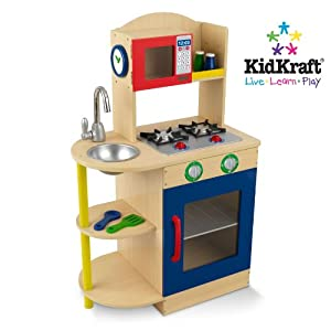 Kidkraft primary wooden kitchen 53194 activity playset for Kitchen set toys amazon