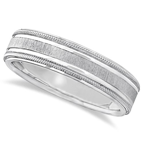 Comfort Fit Satin Finished Milgrain Edge Ring Wedding Band For Men In 14K White Gold (5Mm)