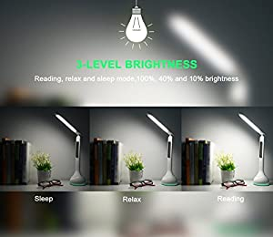 LED Desk Lamp SENDIS Touch Control Dimmable Bedside & Table Lamp with Calendar/ Alarm Clock/ Temperature 3 Level Brightness Eye-Care Touch Light for Reading, Relax and Sleep Mode (White) from SENDIS