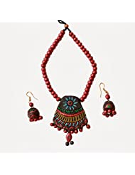 48raft terracotta handmade ethnic jewellery Flower trapezium set for Women