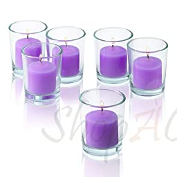 10 Hour Lavender Unscented Votive Candles With Clear Glass Holders Set Of 24