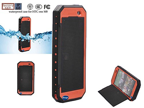 Nancy'S Shop Dot View Matrix Case Cover For Htc One M8 Waterproof Dirtproof Snowproof Shockproof Skin Hard Phone Shell For Htc One M8 (Orange)