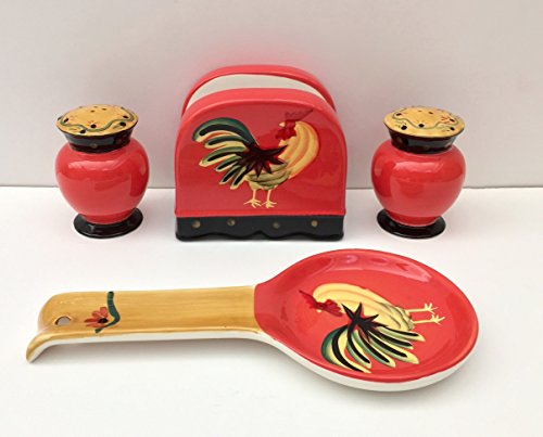 Tuscany Modern Burnt Orange Rooster Hand Painted Table Top Set of 4pcs, 85025/28 by ACK (Italian Pepper Cookies compare prices)