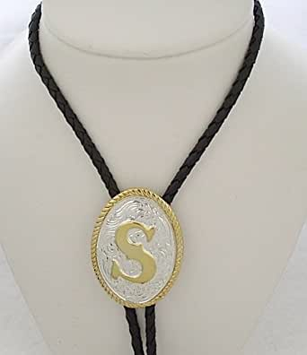 "Amazon.com: Silver/Gold Plated Monogram Letter ""S"" Bolo Tie: Clothing"