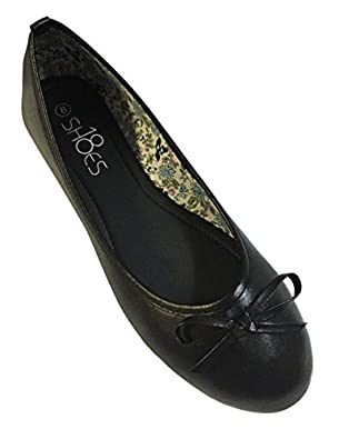 New Womens Ballerina Ballet Flats Shoes Leopard & Solids (5, Black 8500)