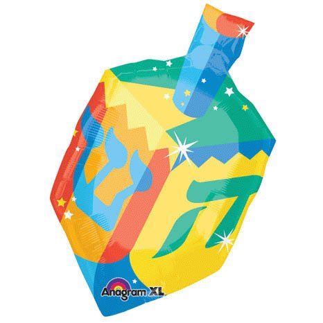 "Colorful Dreidel Hanukkah 27"" Mylar Balloon - 1"