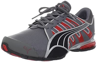 PUMA Men's Voltaic 3 Perf Running Shoe, Steel Grey/Risk Red/Silver, 7 D US