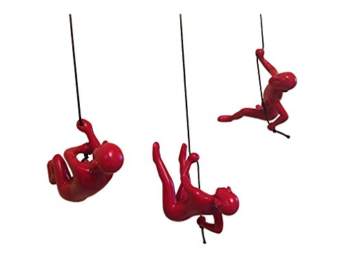 Climbing Man Hanging Wall Piece Of Art By ELADITEMS - Solid, Durable Polyresin Construction - Handmade, Highly Motivational Home Décor Item - Red color Wide Variety Of Colors And Body Posture