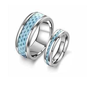 Lovejewelry Pure Tungsten Steel Classic Rings with Blue Carbon Fiber Promise Ring (7, Men's Ring)