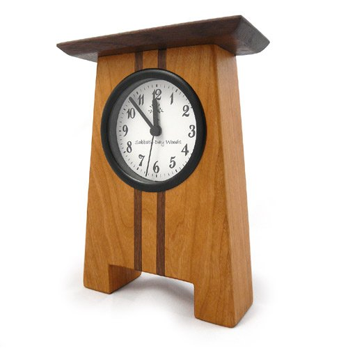 Craftsman Style Desk Clock, Cherry and Walnut, 7.5
