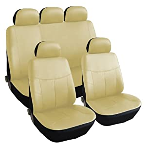 PU LEATHER UNIVERSAL CAR SEAT COVERS TAN/BEIGE FRONT AIRBAGS COMPATIBLE 11PCS SET FIT MOST OF LOWBACK BUCKETS FOR 2-ROWS REAR SPLIT BENCH