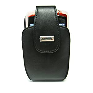 Blackberry OEM Black Leather Vertical Holster HDW-13789-001 and White Silicone Skin Cover Case HDW-13840-005 for Blackberry Curve 8300 8310 8320 8330