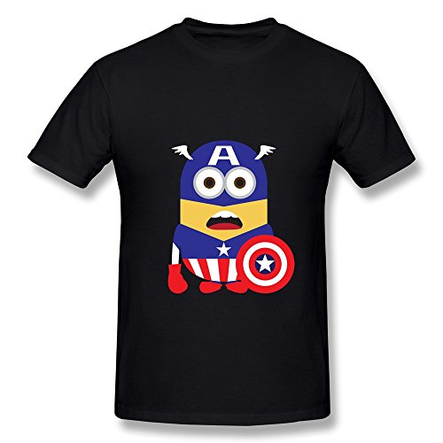 AHOO Men's Tee Shirt Minions Dress Up As Captain America Black