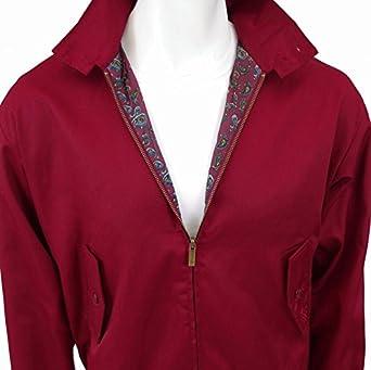 Harrington Jacket BURGUNDY with Toning Paisley Lining (X Large (42 - 44 Inch Chest))