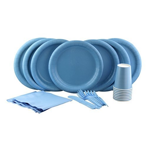 Light Blue Party Set! Includes Light Blue Dinner Plates, Cutlery, Napkins and Cups (Light Blue Party Cups compare prices)