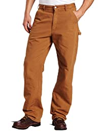 Carhartt Men's Washed Duck Work Dungaree Flannel Lined,Carhartt Brown,34 x 30
