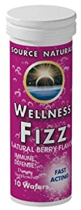 Source Naturals Wellness Fizz, Natural Berry Flavor, 10 Wafers (Pack of 2)
