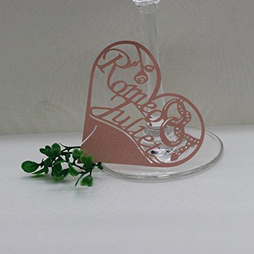 Lot de 50pcs Carte de Verre Marque Place Forme de Coeur Ajouré Décoration de Table - Rose