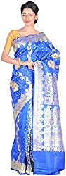 Sree Howrah Stores Women's Silk Saree with Blouse Piece (Royal Blue)