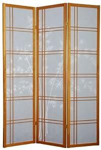 Oriental Furniture 6-Feet Double Cross Bamboo Tree Design Japanese Shoji Screen Room Divider Screen, 5 Panel Honey