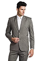 Wintage Men's Wool Two Buttoned Notch Lapel Festive and Casual Brown Blazer