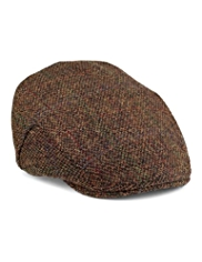 Pure Wool Harris Tweed Herringbone Flat Cap