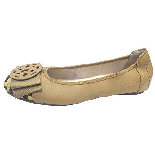 Sveglia di modo slittamento delle donne sulla pelle di pecora di balletto di cuoio dei pattini degli appartamenti casual 607-16 (Albicocca, 36)